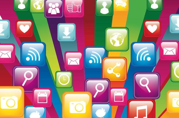Kleurrijke app winkel close-up vectorillustratie Premium Vector