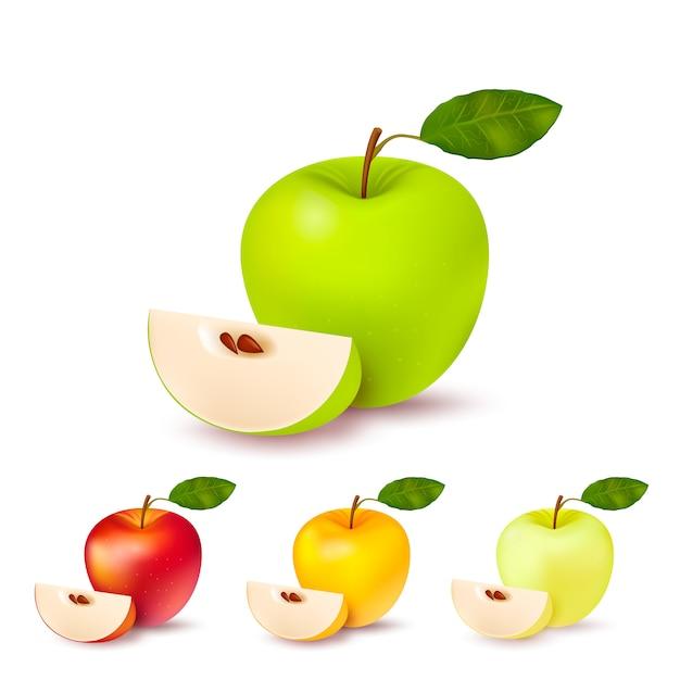 Kleurrijke appels geïsoleerde set Gratis Vector