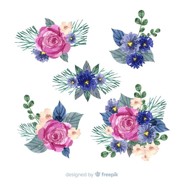 Kleurrijke aquarel bloemen boeket collectie Gratis Vector