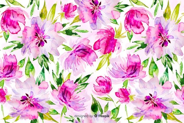 Kleurrijke aquarel bloemenachtergrond Gratis Vector