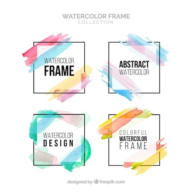 Kleurrijke aquarel frame-collectie Gratis Vector