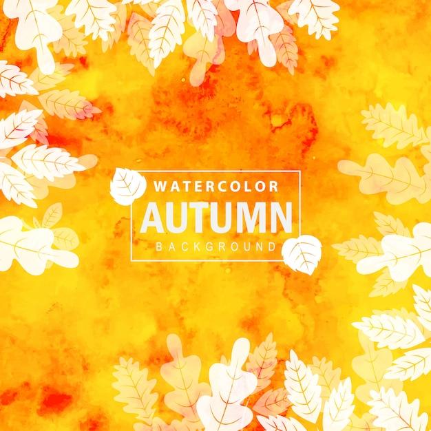 Kleurrijke aquarel herfst achtergrond Gratis Vector