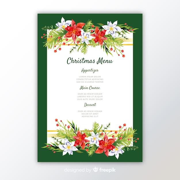 Kleurrijke aquarel kerst menusjabloon Gratis Vector