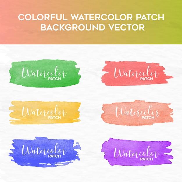 Kleurrijke aquarel patch achtergrond Premium Vector