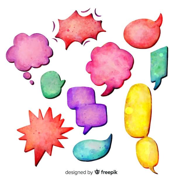 Kleurrijke aquarel tekstballonnen Gratis Vector