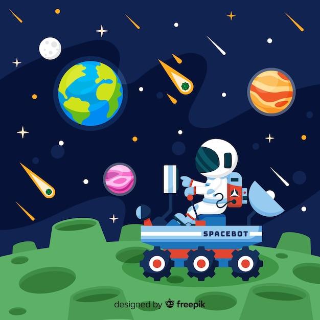 Kleurrijke astronautensamenstelling met vlak ontwerp Gratis Vector
