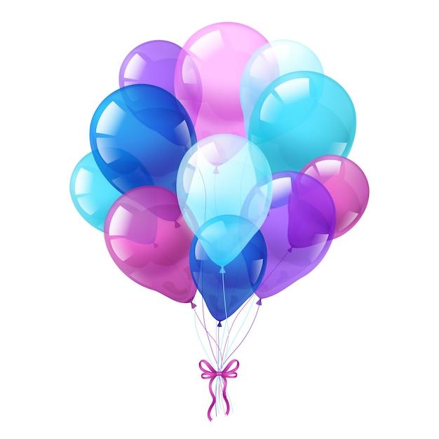 Kleurrijke ballonnen bos witte achtergrond Gratis Vector