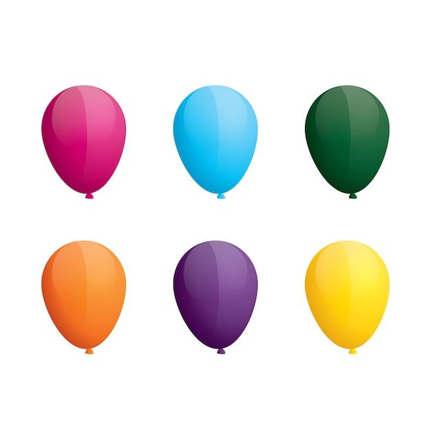 Kleurrijke ballonnen bos witte achtergrond Premium Vector