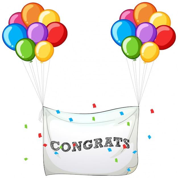 Kleurrijke ballonnen met banner voor word gefeliciteerd Gratis Vector
