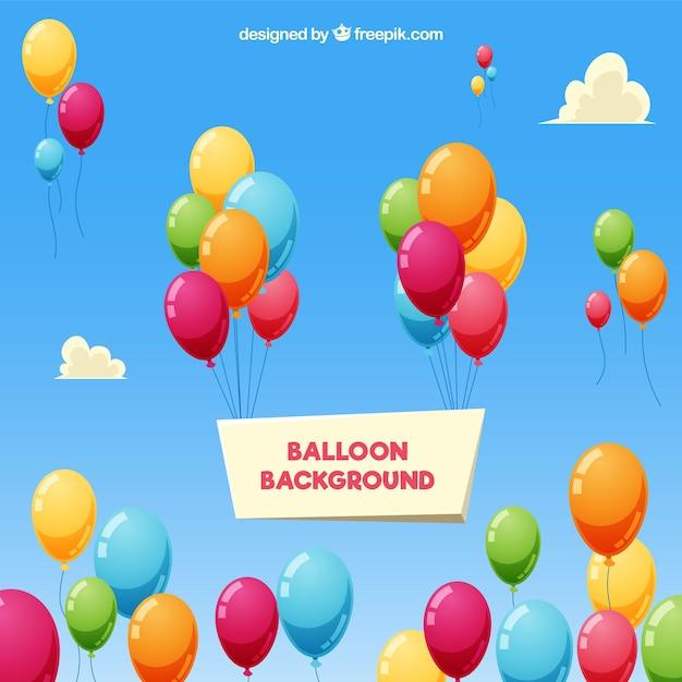 Kleurrijke ballonsachtergrond in de hemel Gratis Vector