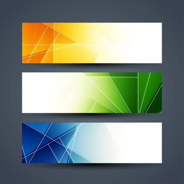 Kleurrijke banner set Gratis Vector