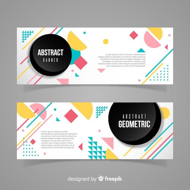 Kleurrijke banners met geometrisch ontwerp Gratis Vector