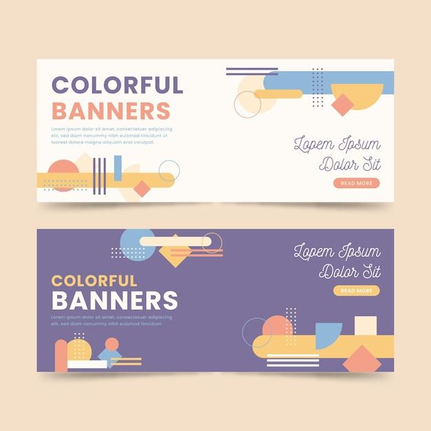 Kleurrijke banners ontwerpsjablonen Gratis Vector