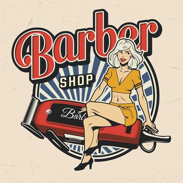 Kleurrijke barbershop label Gratis Vector