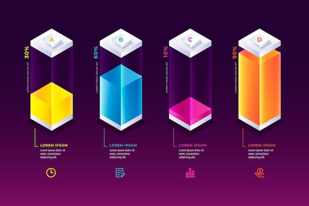 Kleurrijke bars infographic Gratis Vector