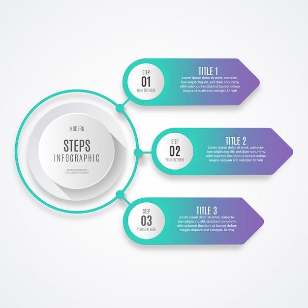 Kleurrijke bedrijfs infographic stap Gratis Vector