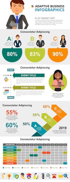 Kleurrijke beheer of planningsconcept infographic grafieken instellen Gratis Vector