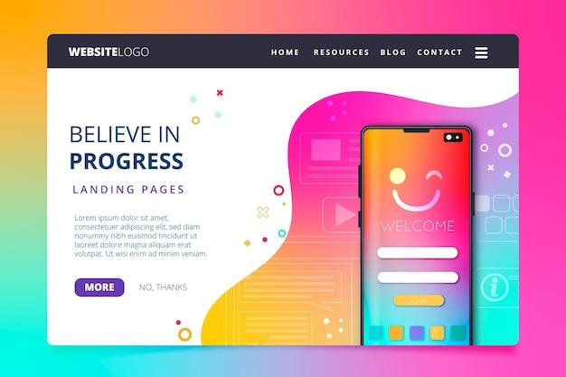 Kleurrijke bestemmingspagina met smartphone Gratis Vector