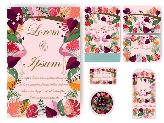 Kleurrijke bladeren bruiloft kaart en tag Premium Vector