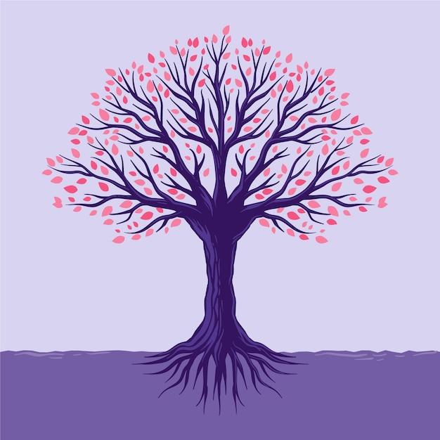 Kleurrijke bladeren handgetekende boom leven Premium Vector