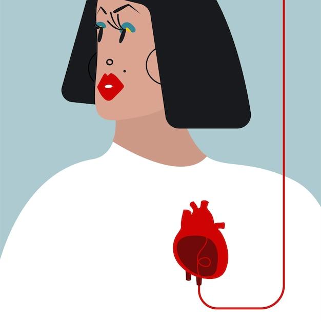 Kleurrijke bloedtransfusie vectorillustratie Gratis Vector