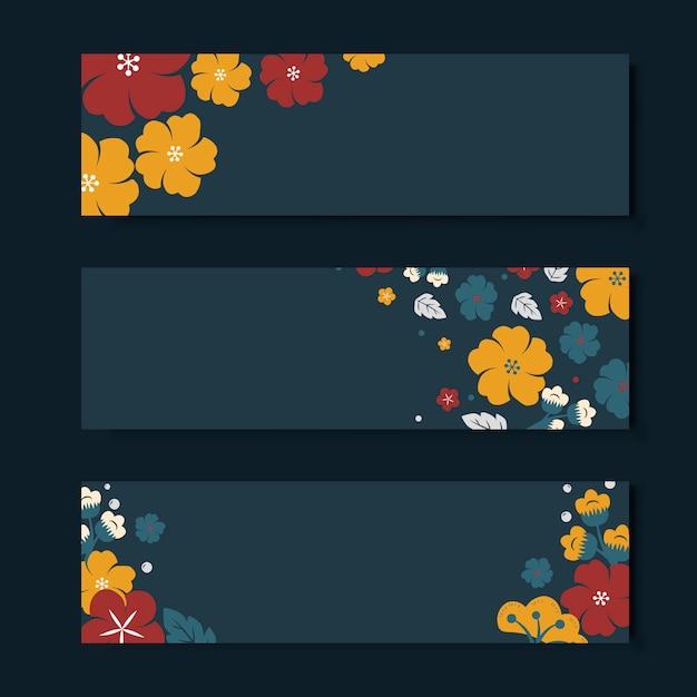 Kleurrijke bloem sjabloon sjabloon instellen Gratis Vector