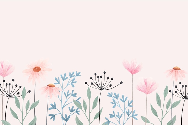 Kleurrijke bloemen achtergrond Gratis Vector