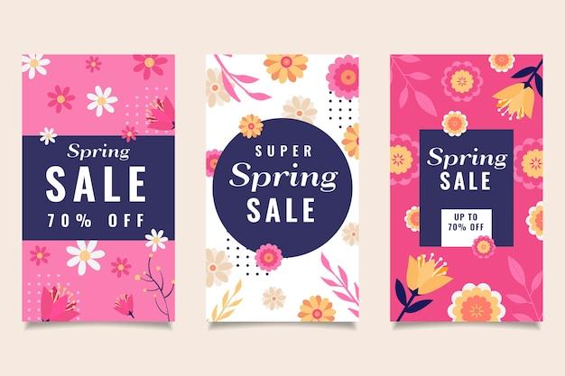 Kleurrijke bloemen en bladeren lente verhalen instagram verhalen collectie Gratis Vector