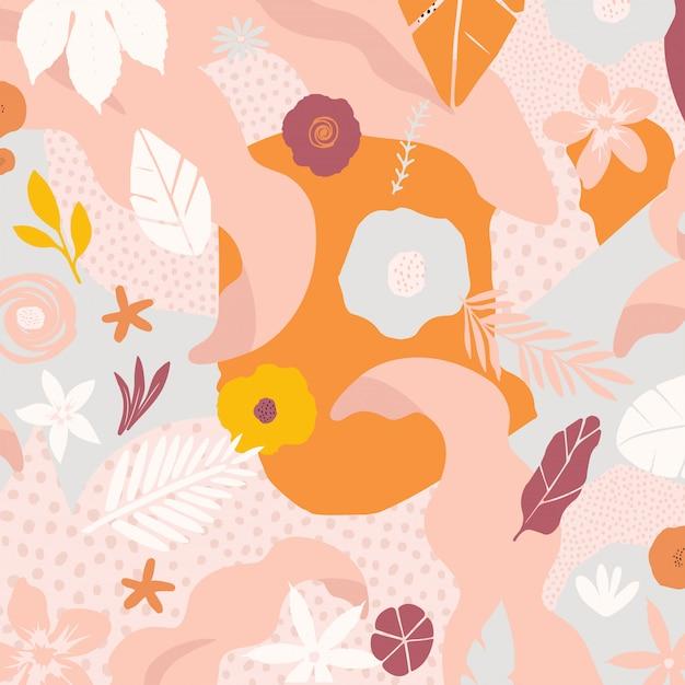 Kleurrijke bloemen en bladerenafficheachtergrond Premium Vector