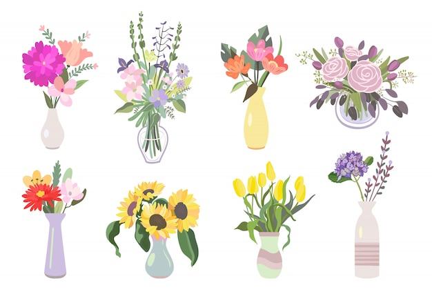 Kleurrijke bloemen platte icon pack Gratis Vector