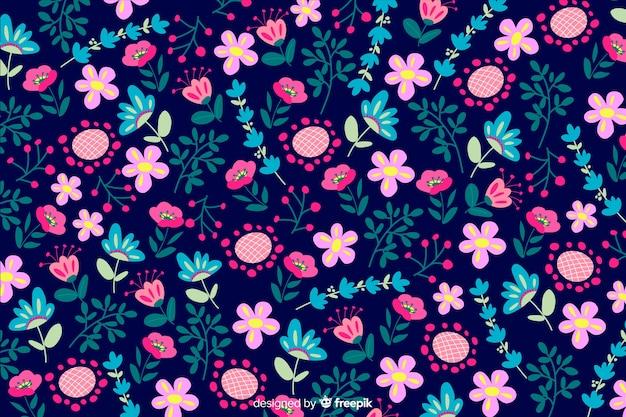 Kleurrijke bloemen vlakke stijl als achtergrond Gratis Vector