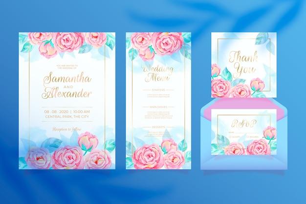 Kleurrijke bloemenhuwelijkkantoorbehoeften Gratis Vector