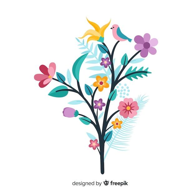 Kleurrijke bloementak in plat ontwerp Gratis Vector