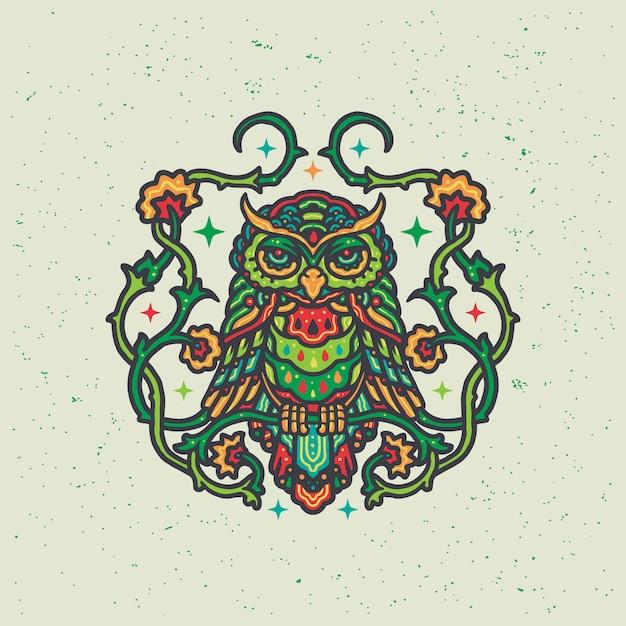 Kleurrijke bloemenuil mandala illustratie Premium Vector