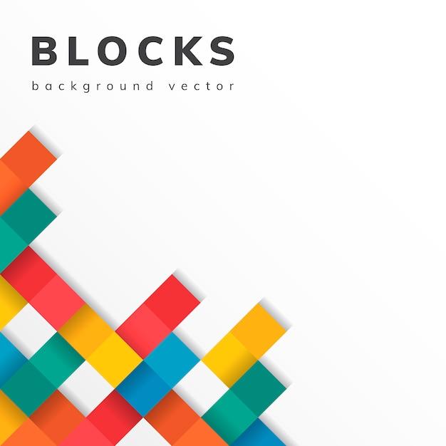 Kleurrijke blokken op lege witte achtergrond Gratis Vector