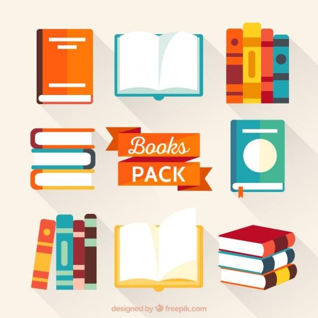 Kleurrijke boeken inpakken Gratis Vector
