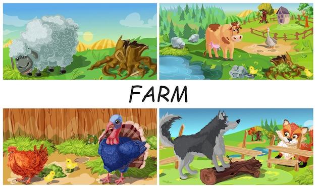 Kleurrijke boerderijdieren samenstelling met schapen koe gans kip kalkoen en hond boerderij te verdedigen tegen vos op landschap landschappen in cartoon stijl Gratis Vector