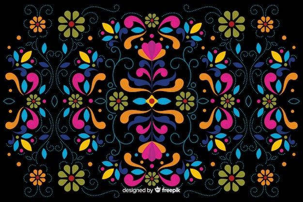 Kleurrijke borduurwerk bloemenachtergrond Gratis Vector