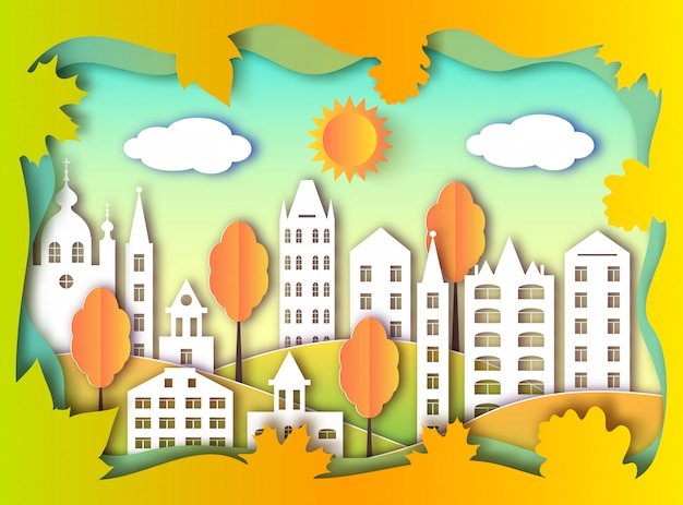 Kleurrijke bouw van de grote stad. papier kunststijl Premium Vector