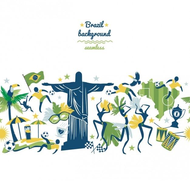 Kleurrijke braziliaanse achtergrond Gratis Vector