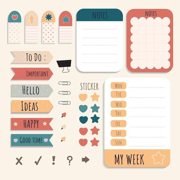 Kleurrijke briefpapier set Gratis Vector