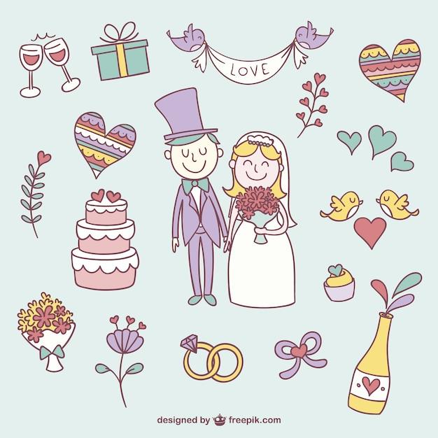 Kleurrijke bruiloft krabbels Gratis Vector
