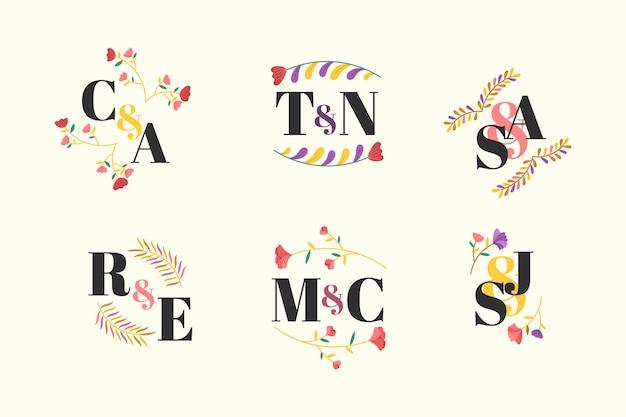 Kleurrijke bruiloft monogram collectie concept Gratis Vector