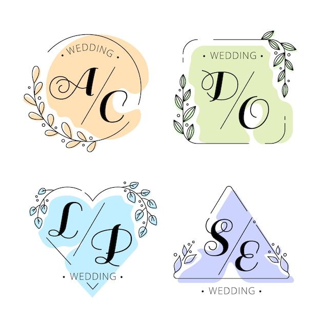 Kleurrijke bruiloft monogrammen Gratis Vector