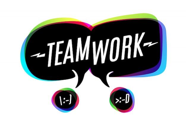 Kleurrijke bubbels met tekst teamwork Premium Vector