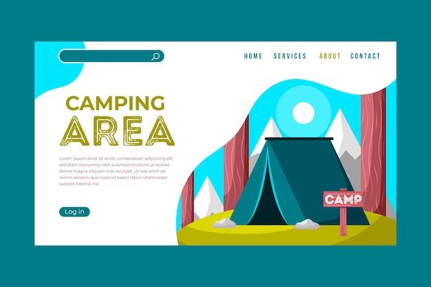 Kleurrijke camping-bestemmingspagina Gratis Vector
