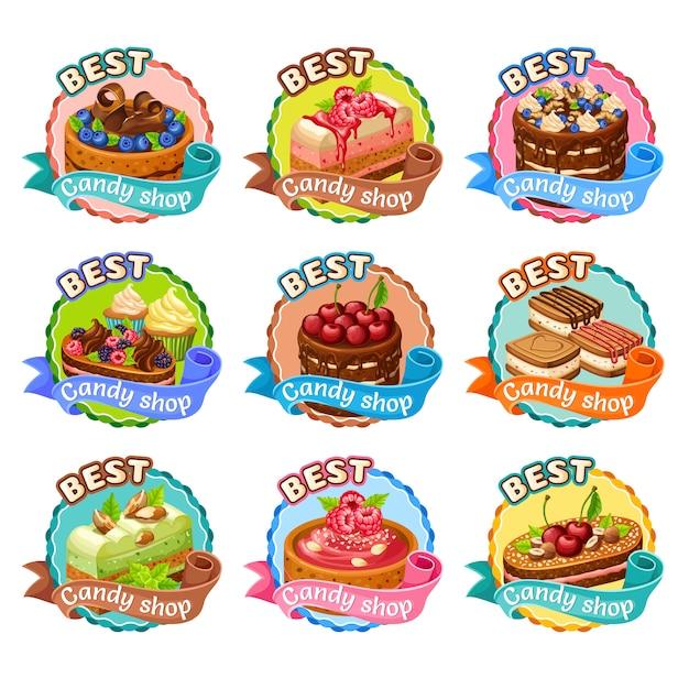 Kleurrijke candy shop stickers set Gratis Vector