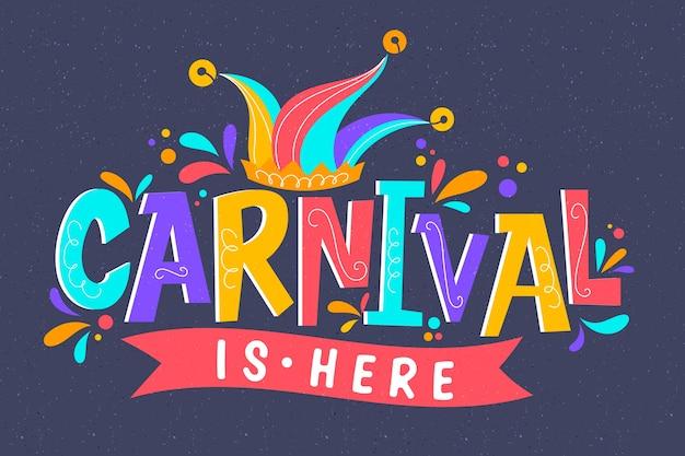 Kleurrijke carnaval belettering Gratis Vector
