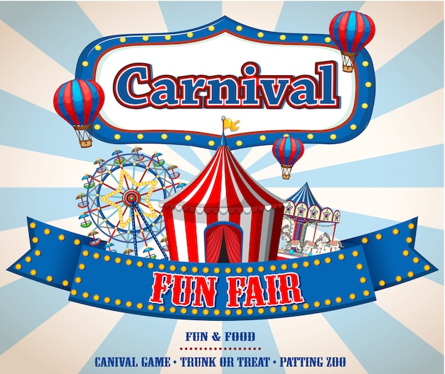 Kleurrijke carnaval kermis banner Gratis Vector