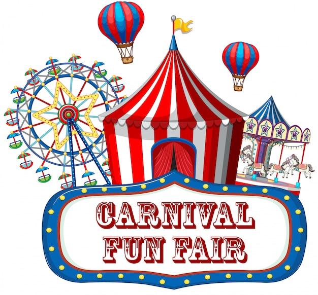 Kleurrijke carnaval kermisbanner Gratis Vector